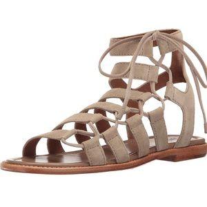 Frye Blair Side Ghillie Sandal Ash Suede Size 7.5M